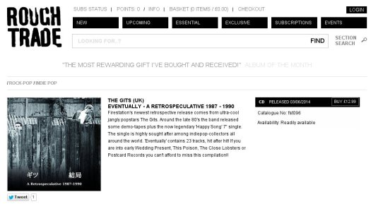 Screen capture of Gits CD on Rough Trade Record Shop website