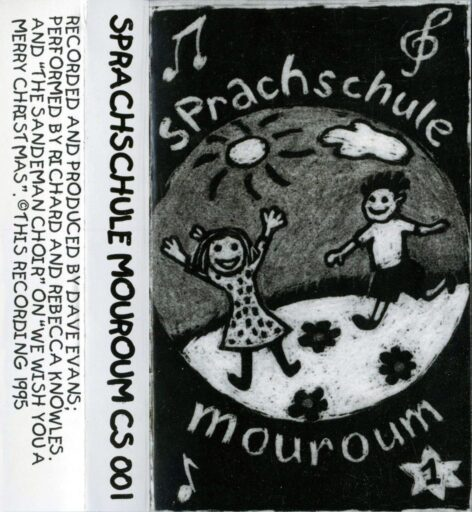 Sprachschule Tape Inlay with a couple of pencil drawn children looking happy and some bumpf