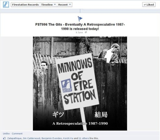 Screen capture of Gits CD release announcement on Facebook by Firestation Records modified to add sign 'Minnows Of Firestation' as a nod to a current meme relating to an upcoming concert