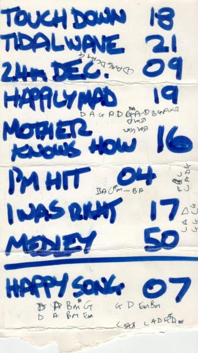 A scan of a 1989 Gits gig set list
