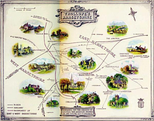 """A map of Anthony Trollope's ficitional County of Barsetshire"""" />From """"The Significance of Trollope"""" (1925) by Spencer Van Bokkelen Nichols, painted by George F. Muendel."""