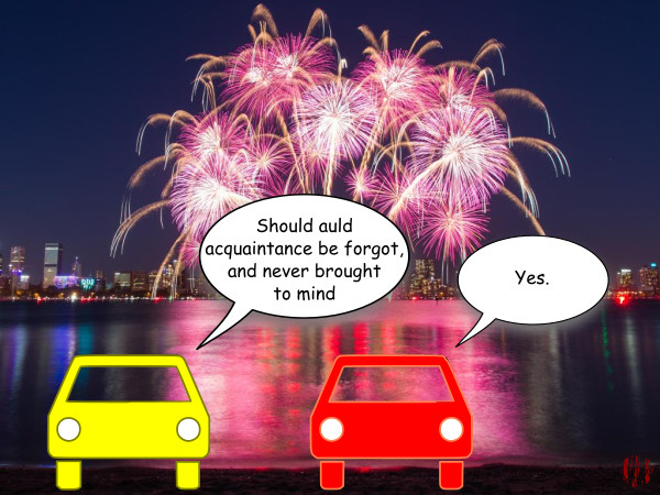 """Two cars are stopped by a bay watching a fireworks display over a city and one quotes from Robert Burns Old Lang Syne """"Should auld acquaintance be forgot, and never brought to mind"""" to which the other interjects, """"Yes""""."""