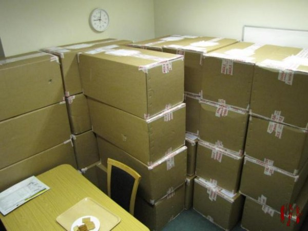 Large stack of 2ft by 1ft by 1ft cardboard boxes in an office