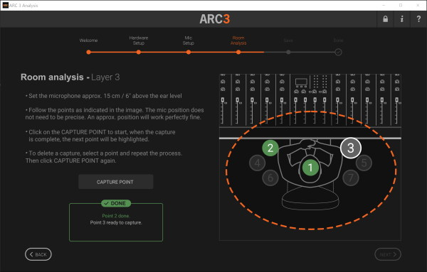 Screen capture of the aforementioned software with a diagram of a man at a mixing desk and instructions for testing the room