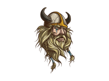 The drawn head of a hirsute Viking with lighting mark above and below his right eye