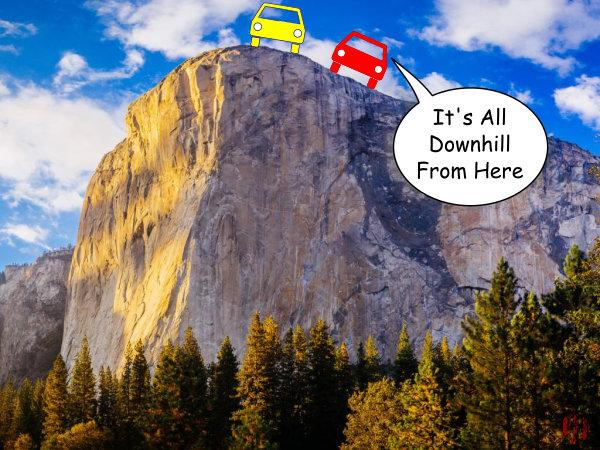 """A car-toon car says to another whilst stopped at the cliff's edge, """"It's all downhill from here""""."""