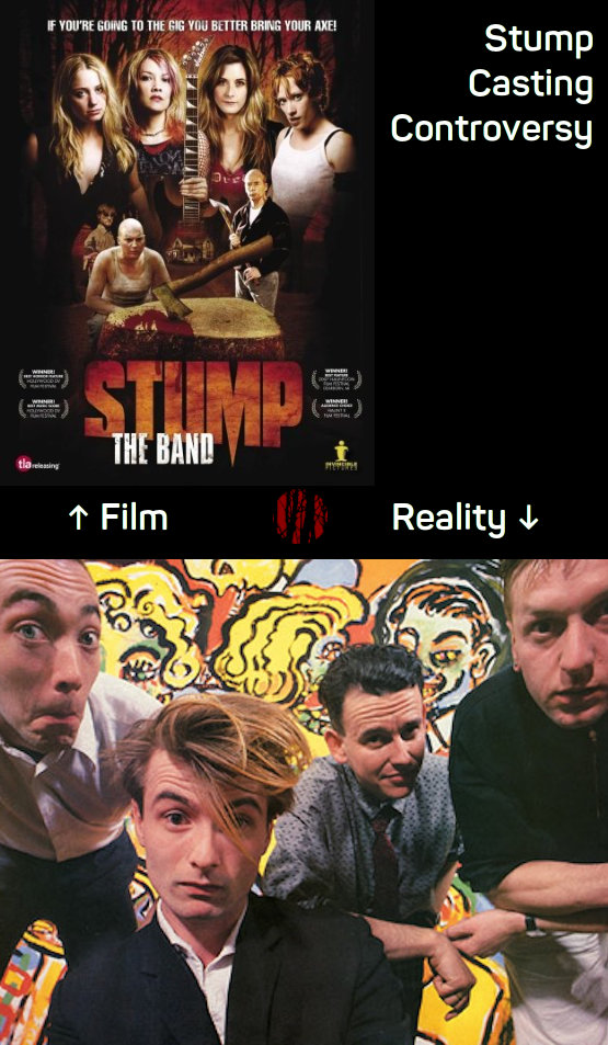 Comparison of attractive young ladies in the film 'Stump, The Band' and the entirely unrelated, not quite so attractive, chaps from 1980s Irish band Stump.