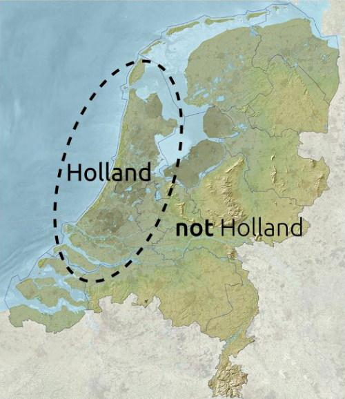 A map of the Netherlands with two areas marked: Holland and Not Holland