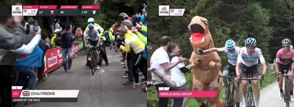 The leading cyclists climbing a very steep hill at the Giro d'Italia have to contend with fans running along side them.