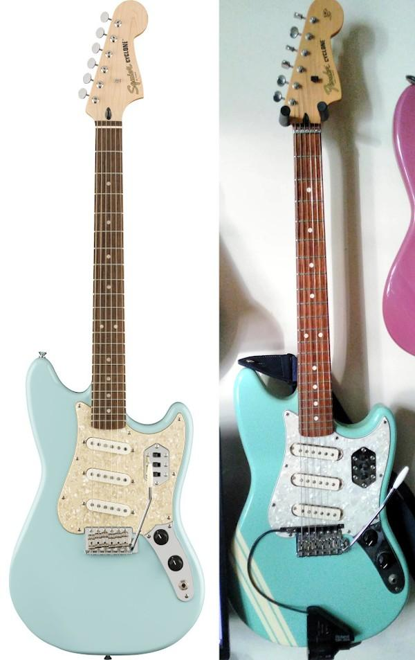 The early 2000s Fender Cyclone II next to the 2020 reissue lacking the all important thin-thick-thin white stripe