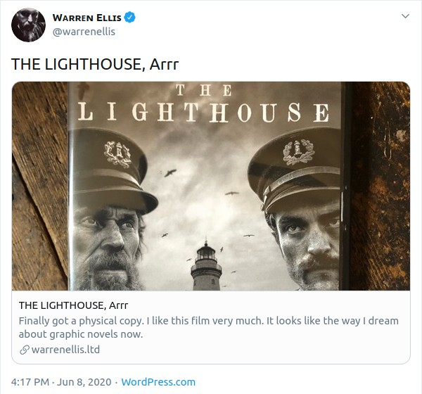 Screen capture of a tweet in which Warren Ellis mentions getting a copy of the film, The Lighthouse