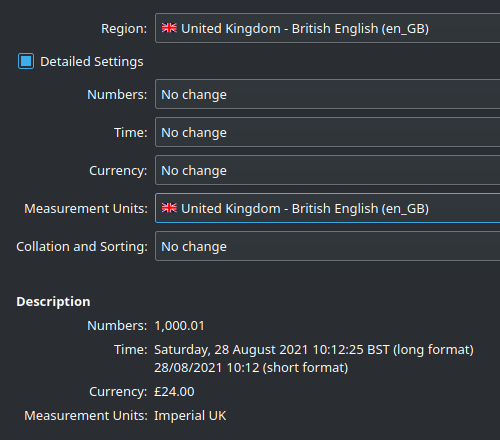 Screen capture confirming the text with 'Imperial' the only option for UK measurements