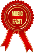 """Rosette in red with 'Music Fact' on it in gold"""""""