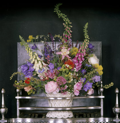 18th Century Flower Arrangement In The Fireplace In Mrs