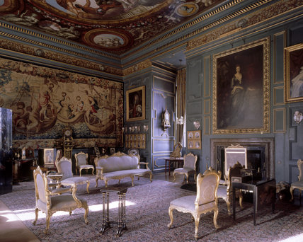 View of the Blue Drawing Room at Powis Castle showing the