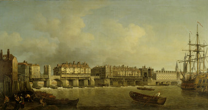 OLD LONDON BRIDGE by Samuel Scott 18thcentury from the Drawing Room at Felbrigg Hall