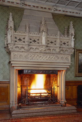 The monumental Gothic fireplace at Tyntesfield designed by