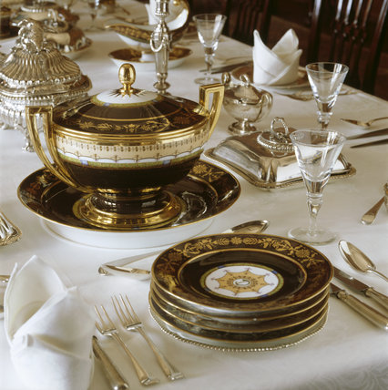 Close Up Of A Table Setting In The Dining Room At Lyme Park Lyme Park At National Trust