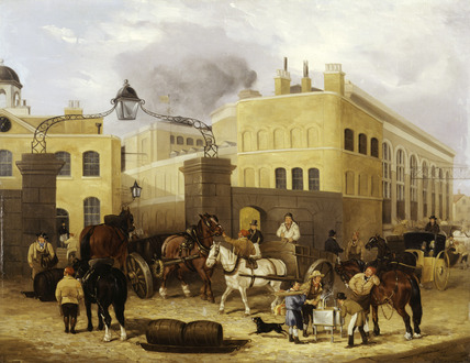 Barclay and Perkins's Brewery, Park Street, Southwark. Oil on canvas. This view shows the entrance to the Brewery in Park Street with the office block at the rear of the yard. On the extreme right is Great Brewhouse, with its eight huge windows and light suspension bridge that connected it with buildings on east side of the street. This scene shows the barrels on horse-drawn sleds, a butcher's boy carrying a wooden tray and to the right is a hansom cab.