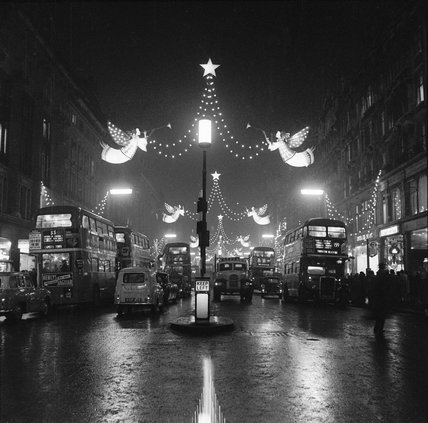 The Regent Street Christmas lights at night 1960 by Henry Grant at Museum of London