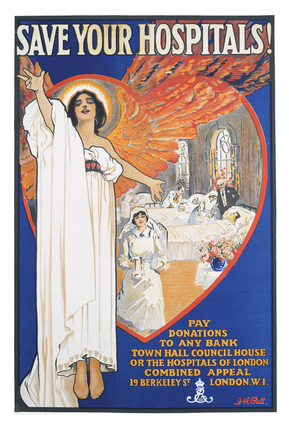 Save Your Hospitals Poster 1920s by Bensons
