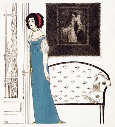 A woman posing with a long dress, by Paul Iribe