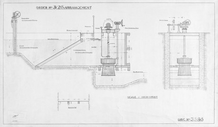 Scale diagram of water turbine, 1924. Techn at Science and