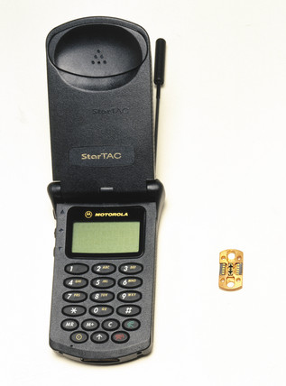 Motorola StarTAC mobile phone with chip 1997 at Science