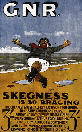 Skegness is so Bracing postcard 1908 by Hassall John