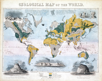 Geological map of the world 1850 by Emslie John at