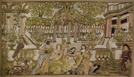 Needlework wall hanging of musical party in an exotic
