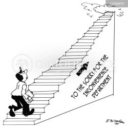 staircase inconvenience stairs cartoon staircases funny cartoons comics stair illustration cartoonstock business dislike