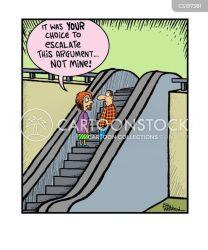 escalator stairs moving cartoon funny cartoons comics cartoonstock illustration staircases dislike