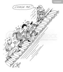 stairlift cartoon chase lift cartoons funny stairs stair kiss illustration cartoonstock comics dislike