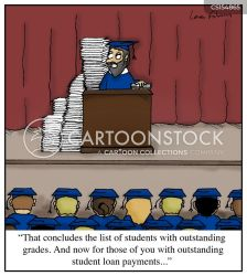graduation student loan cartoon cartoons outstanding funny college students university comics financial aid humoresque payments tuition payment grad cartoonstock teaching