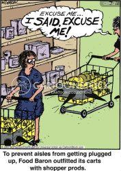 grocery shopping groceries politeness stores cartoon cartoons manners funny supermarket comics shops food cartoonstock supermarkets dislike illustration