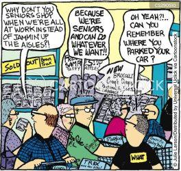 ageism aisle cartoon cartoons aisles funny shopping cartoonstock grocery supermarket seniors food dislike