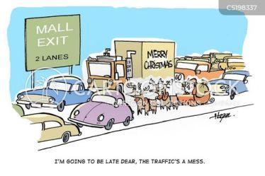 holiday santa shopping cartoon cartoons funny clause christmas xmas comics traffic cartoonstock retail dislike jam