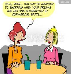 shopping addiction cartoon cartoons funny comics shopper advertisement advert cartoonstock dislike retail