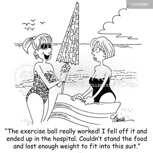 Cartoons und Karikaturen mit Bademode