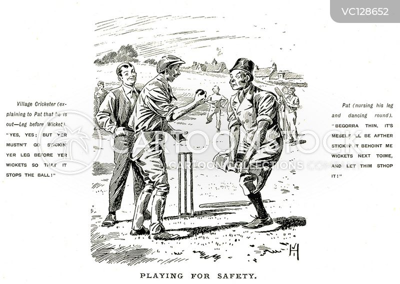 Village Cricket Vintage and Historic Cartoons