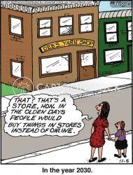 shopping internet cartoons shoppers cartoon funny comics technology olden days shops cartoonstock dislike