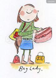 shopping bag lady woman cartoon cartoons clipart purses caricatures funny bags suitcases handbags comics cliparts ladies luggage illustration illustrations shopper
