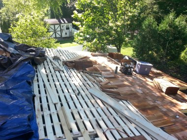 Cedar roofing.
