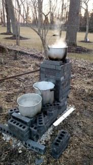 Boiling sap.