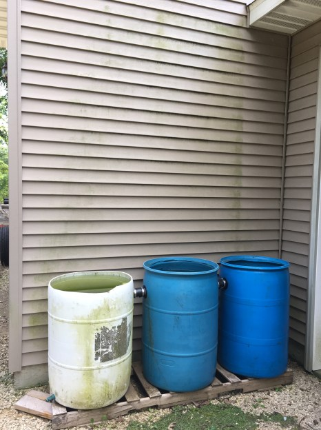 Plumbed 55-gal drums.