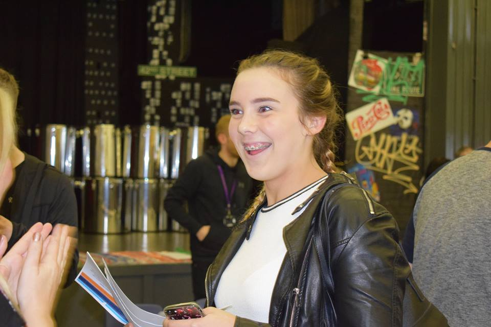 A Golborne High pupil collects her GCSE results