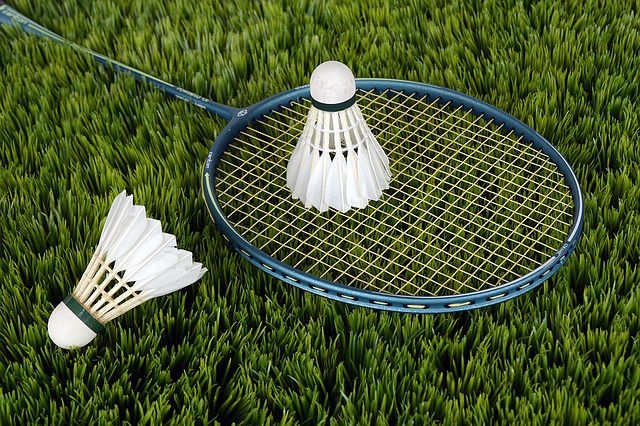 Badminton racket and shuttlecock on the grass