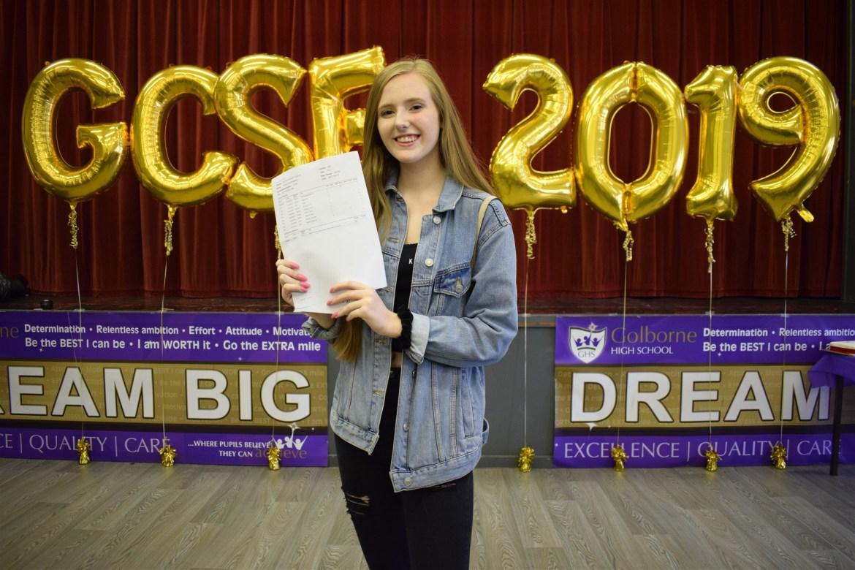 Golborne High pupil celebrates GCSE results