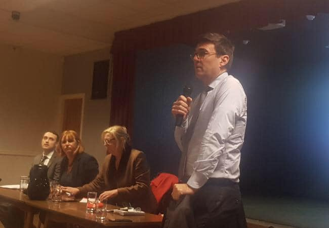 Andy Burnham speaking in favour of the re-opening of Golborne Station at the meeting